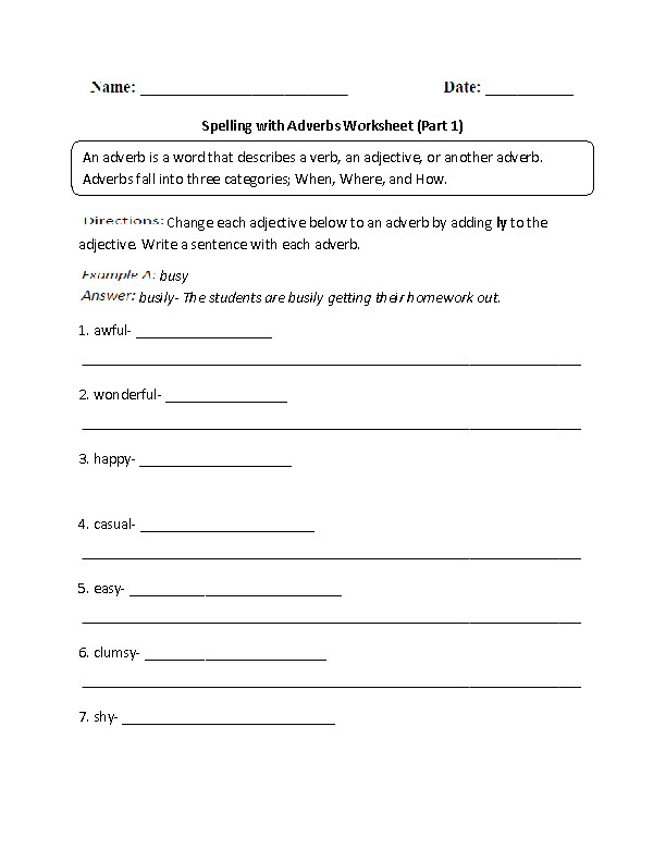 Spelling with Adverbs Worksheets