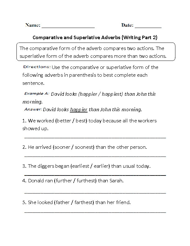 Adverbs Worksheet Part 2