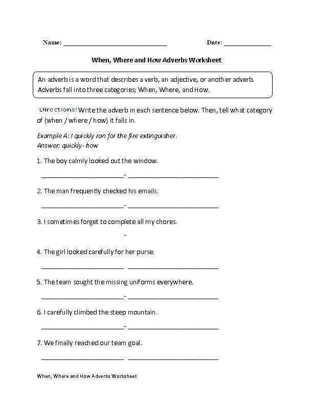 When Where and How Adverbs Worksheet