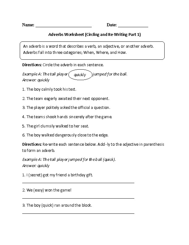Finding and Re Writing Adverbs Worksheet