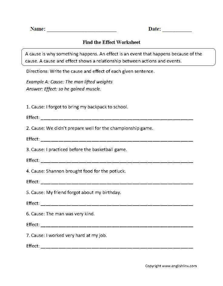 Find the Effect Cause and Effect Worksheets
