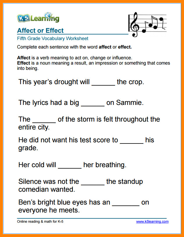 5th grade vocabulary wordsade 5 affect vs effect vocabulary