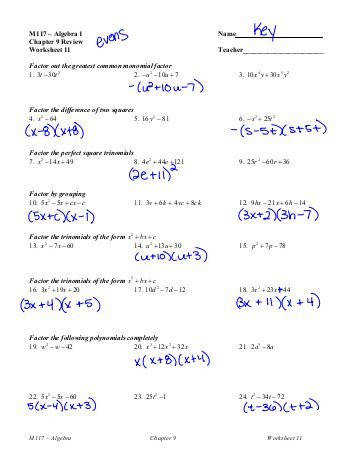 Algebra 1 Name Chapter 9 Review Worksheet 11