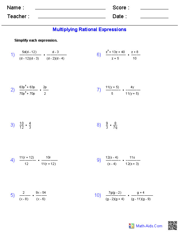Algebra 1 Worksheets · Rational Expressions Worksheets
