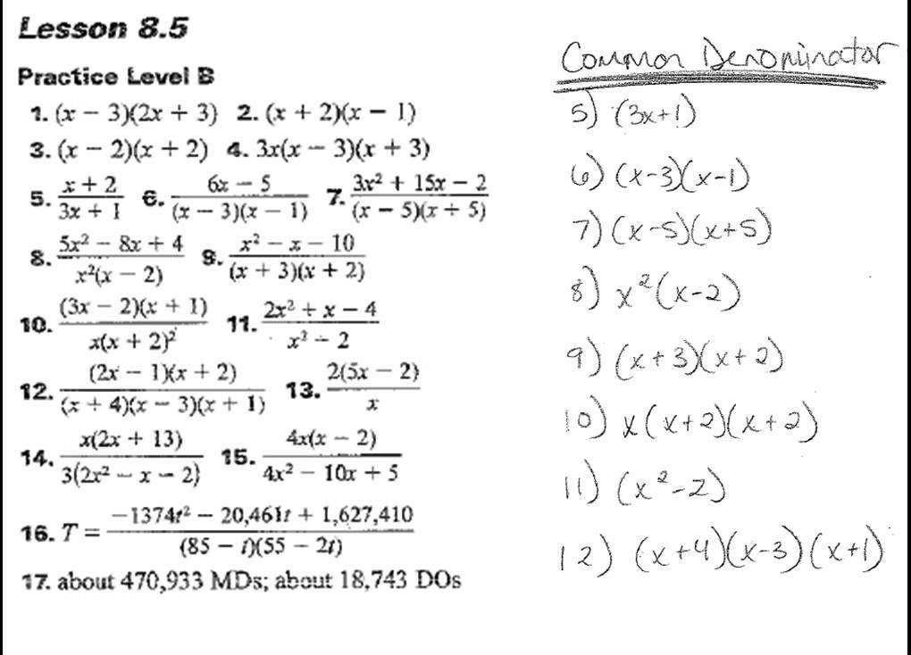 Algebra II 8 4 8 6 HW Answers