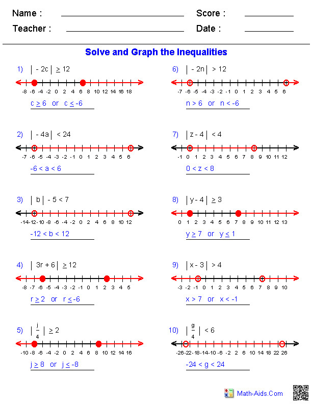 Equations and Inequalities Algebra 2 Worksheets