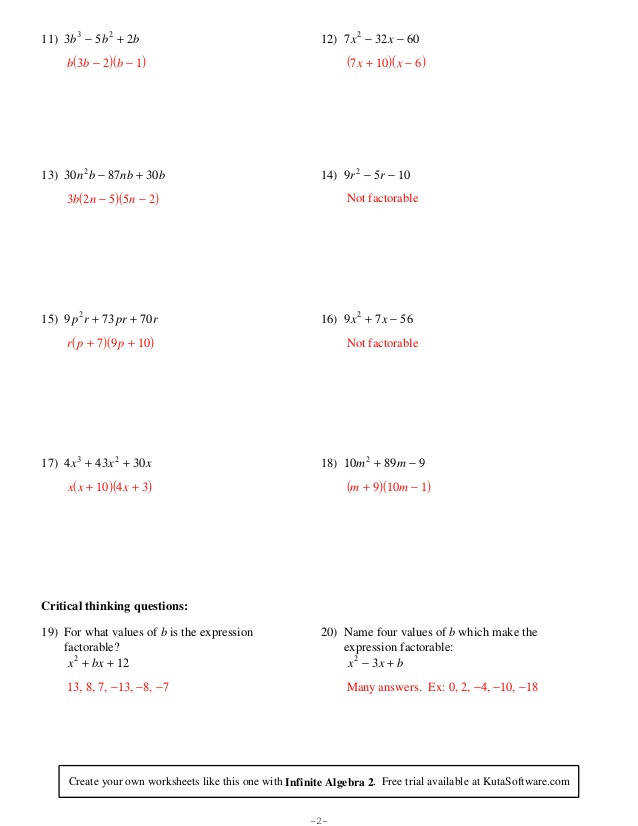 Algebra 1 Unit 8 Factoring Quadratic Trinomials LC =1 Worksheet