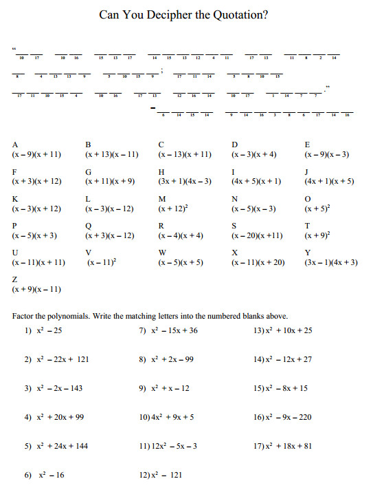 Multiplication of Polynomials Puzzle Includes FOIL method