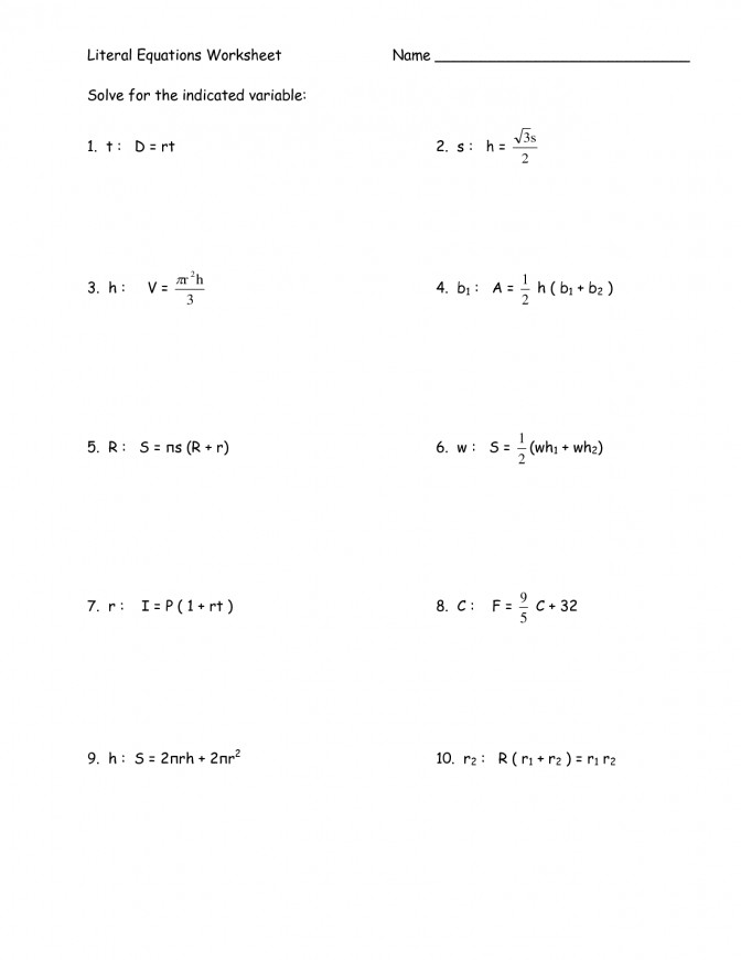 Algebra 1 Linear Equations Worksheet Tessshebaylo Solving Multi Step 2 Literal Worksheet 6 Solving Multiple Step