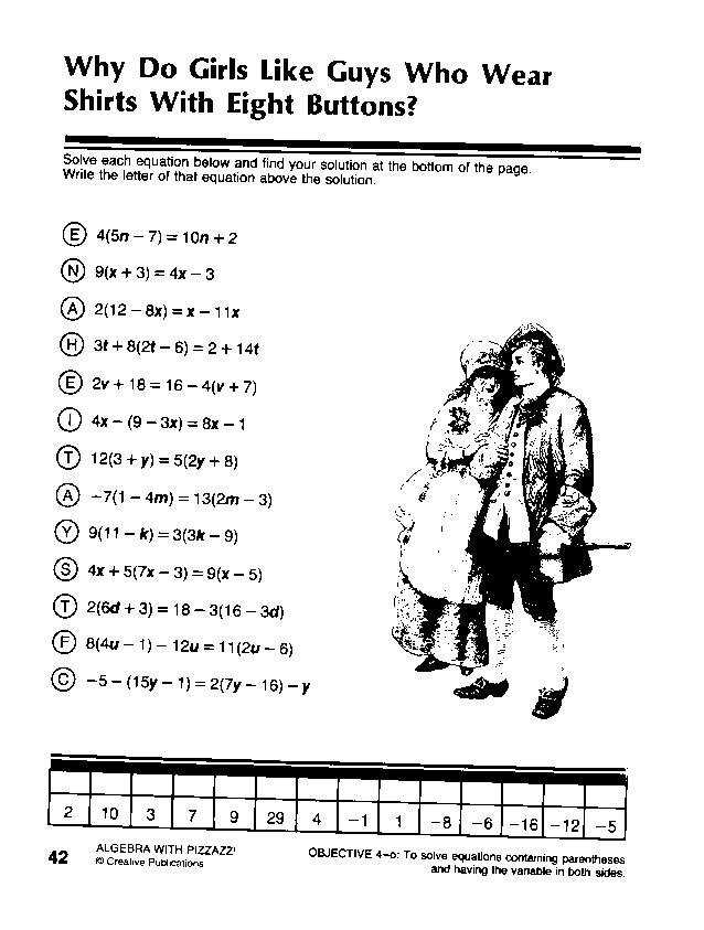 Pre algebra with pizzazz worksheets with answers