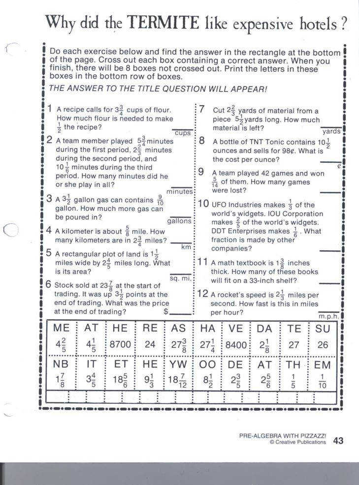 Medium Size of Worksheet pre Algebra With Pizzazz Answer Key Creative Publications Pre Algebra With