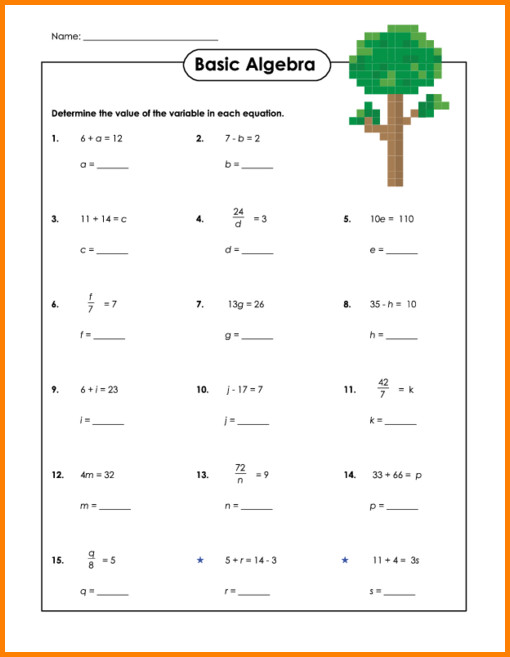 Basic Algebra Worksheetssic Algebra Worksheet 2