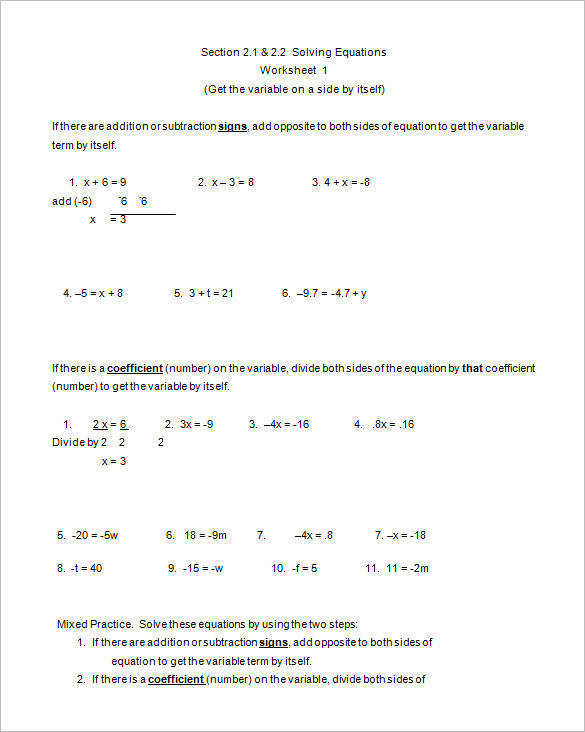 Algebra Worksheet Template