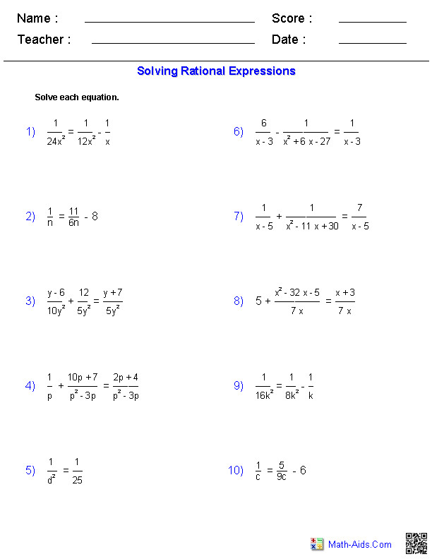 Rational Expressions Algebra 2 Worksheets