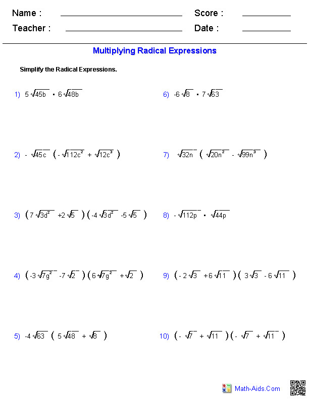 Radical Expressions Worksheets