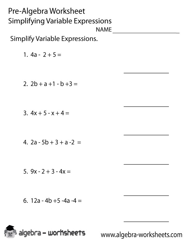 Variable Expressions Pre Algebra Worksheet