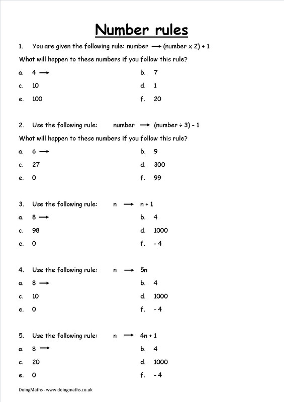 Algebra introduction worksheet