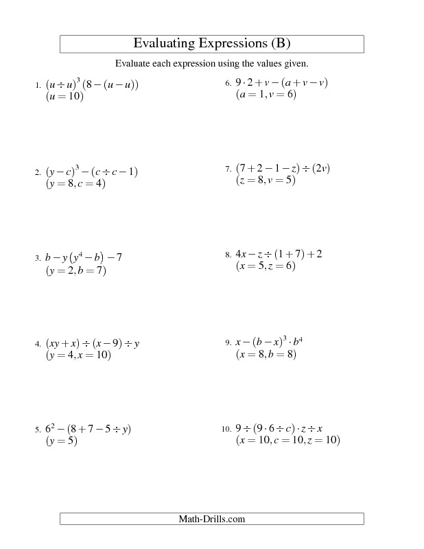 Algebra Worksheet Evaluating Five Step Algebraic Expressions with Three Variables B