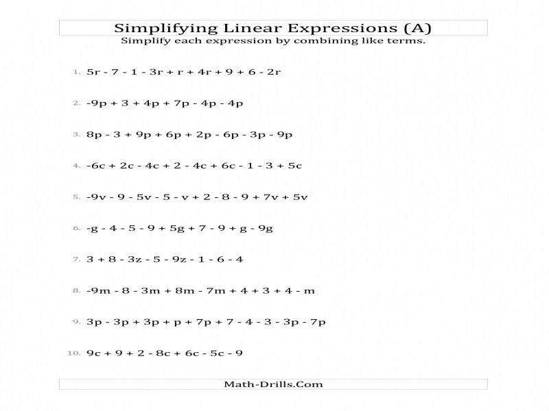 Simplifying Algebraic Expressions Worksheets – Wallpapercraft