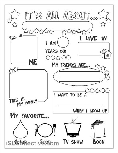 All about me Preschool Worksheets