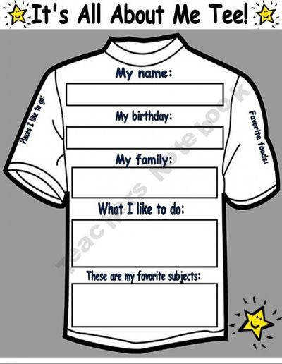 It s All About Me Tee Worksheet Poster