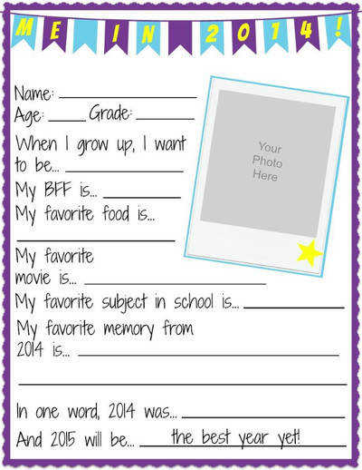 NYE All About Me Printable Worksheets