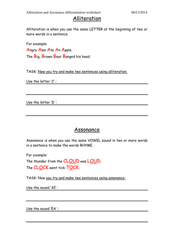 Simple Alliteration and Assonance Worksheet by cuthern Teaching Resources Tes