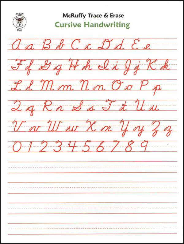 Trace & Erase Alphabet Handwriting Sheets Cursive