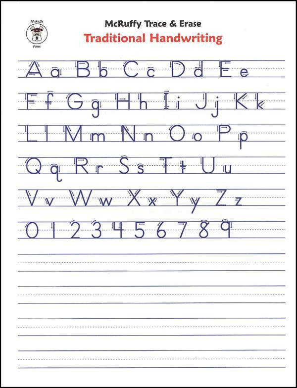 Trace & Erase Alphabet Handwriting Sheets Traditional