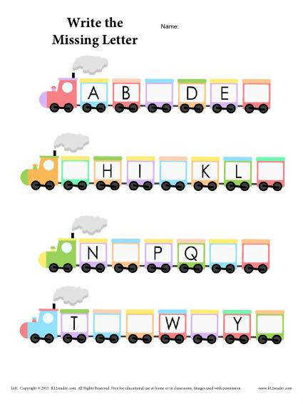 Alphabet Train Worksheet – Fill in the Missing Letter