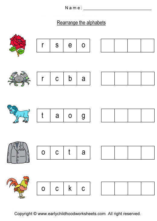 To print this worksheet click Printable Rearrange Alphabet Worksheets