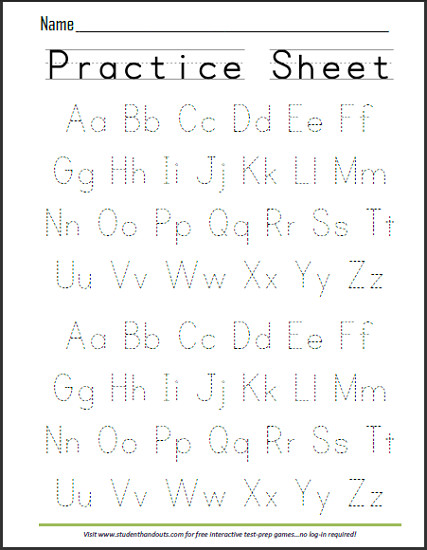 ABCs Dashed Letters Alphabet Handwriting Practice Worksheet Free to print PDF file