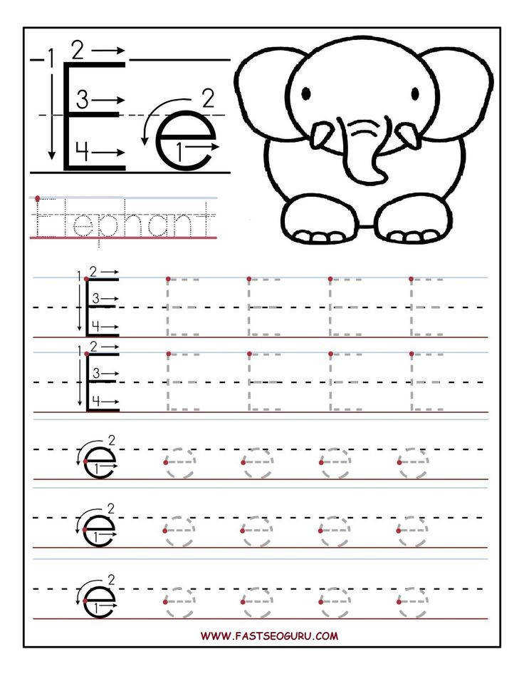 Printable letter E tracing worksheets for preschool