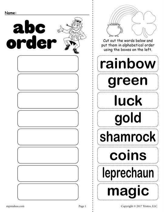 Free St Patrick s Day Alphabet Order Worksheet
