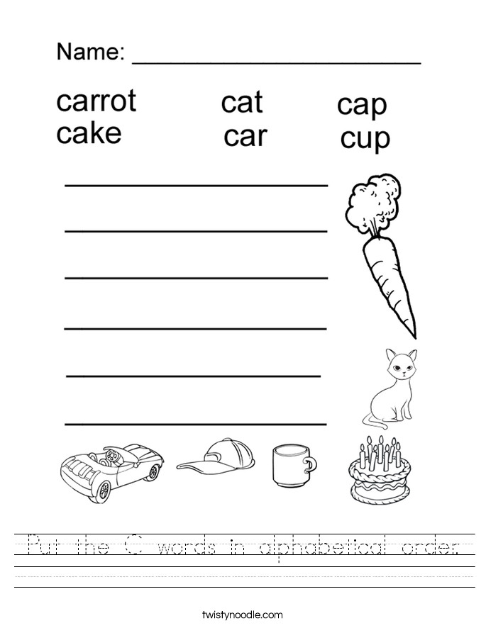 Put the C words in alphabetical order Handwriting Sheet