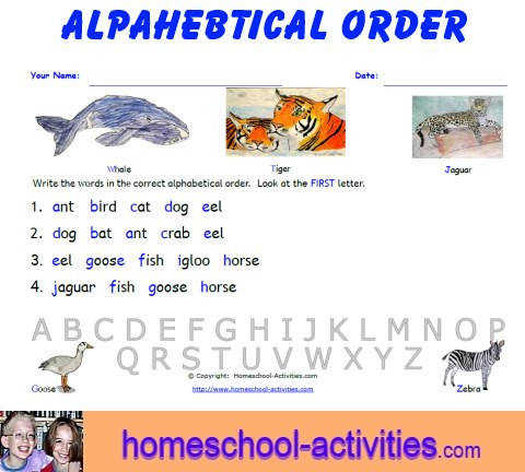 alphabetical order worksheets 5