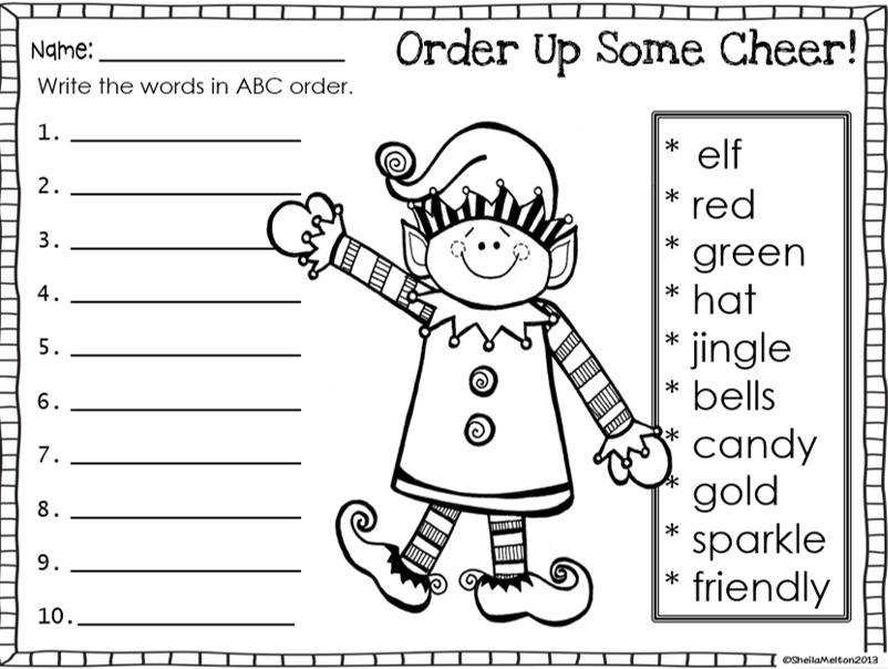 Some ideas for working on alphabetical order and holiday theme
