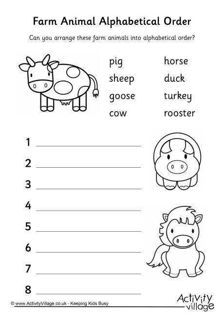 Farm Animal Alphabetical Order 1