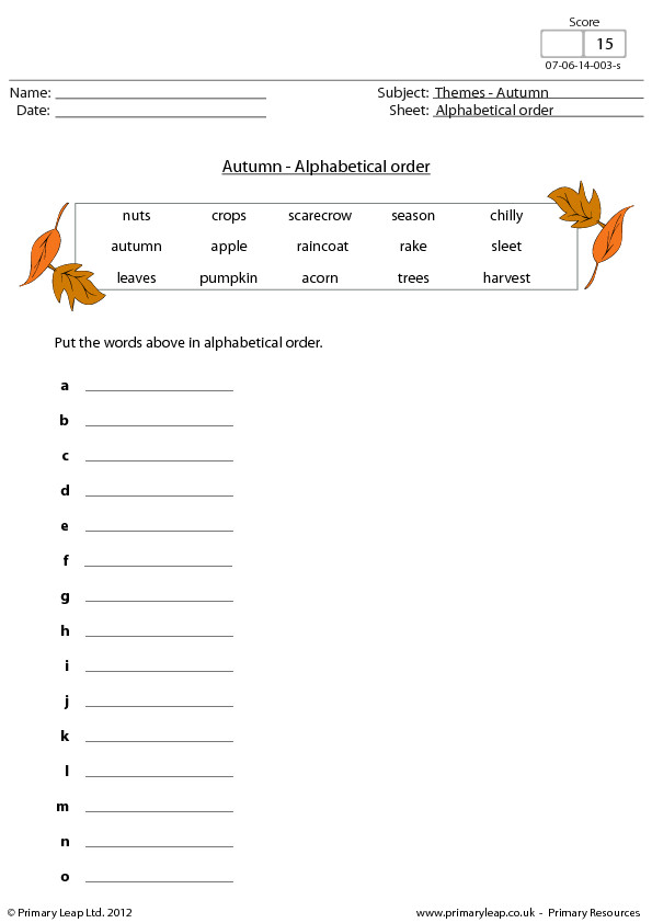Alphabetical Order Autumn Fall Theme