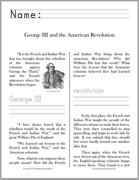 George III and the American Revolution Workbook for Grades 1 3 Free to