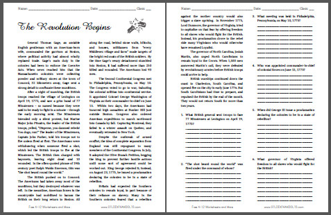 Causes of the American Revolution Facts &amp- Worksheets For Kids