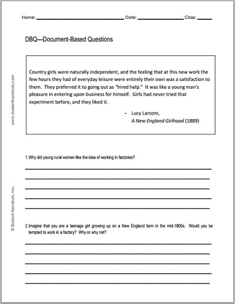 A New England Girlhood Industrial Revolution Printable DBQ Worksheet for Students of American History