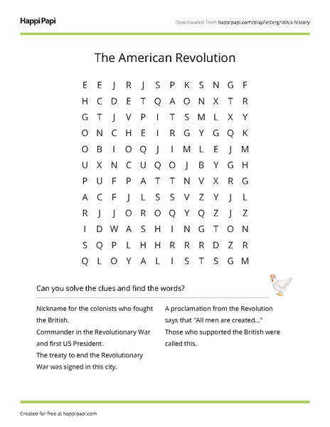 The American Revolution Free Word Search Puzzle Worksheets