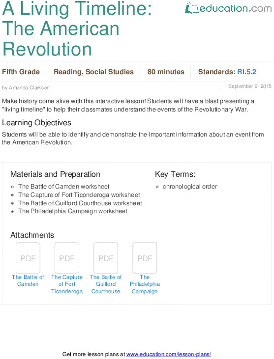 A Living Timeline The American Revolution Lesson Plan