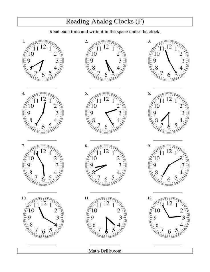 Reading Time on an Analog Clock in 5 Minute Intervals F free worksheet