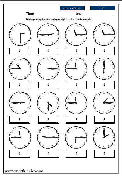 Recording digital time after reading an analog clock Mathematics skills online interactive activity lessons