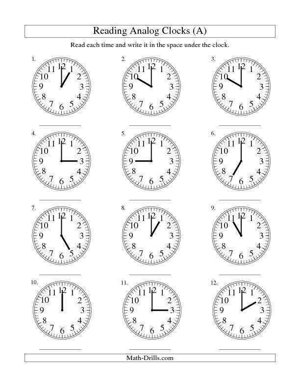 Reading Time on an Analog Clock in e Hour Intervals A Math Worksheet…