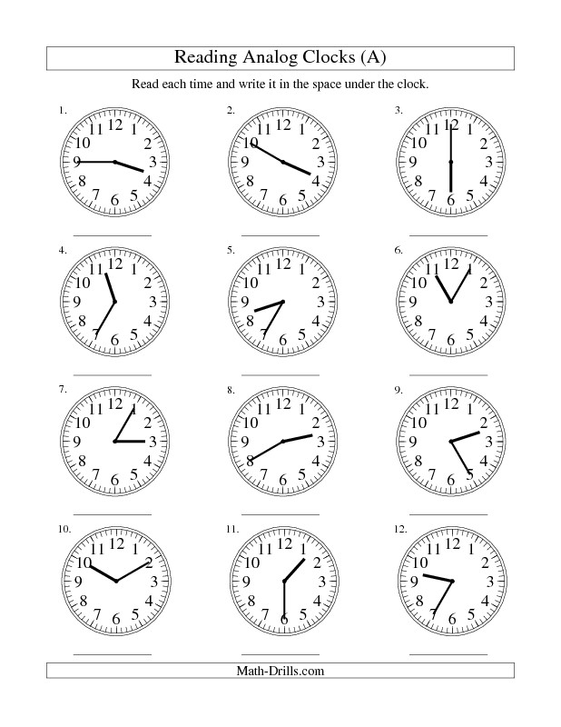 Measurement Worksheet Reading Time on an Analog Clock in 5 Minute Intervals A