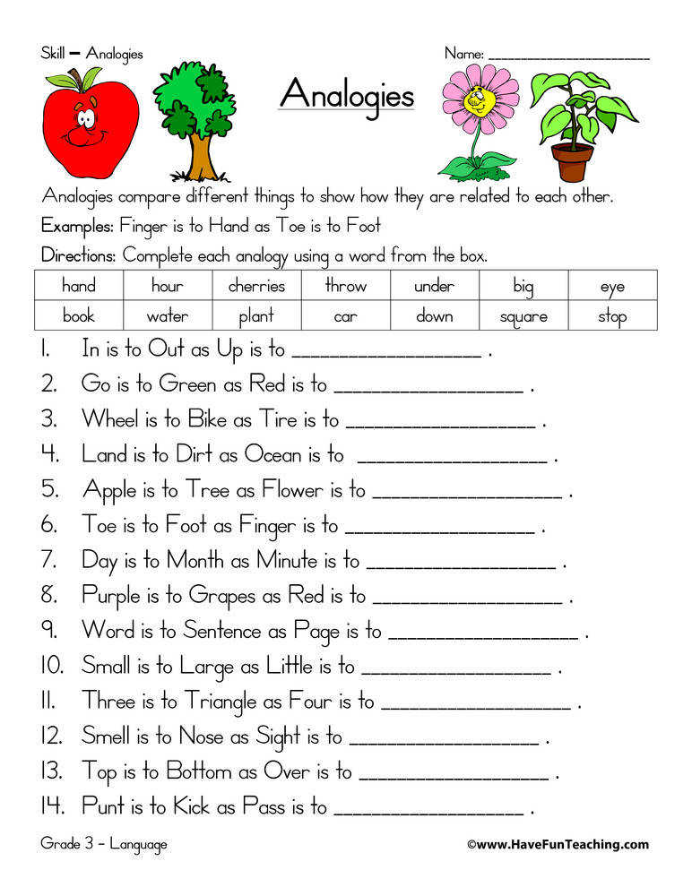 Analogy Worksheet