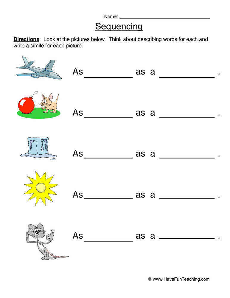 Similes Worksheet